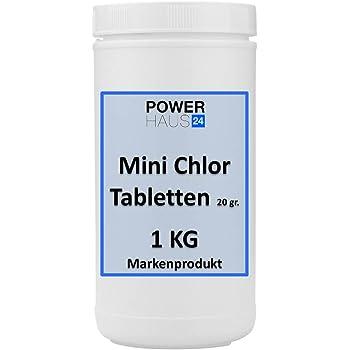 Mini Chlor Tabletten 20 gr. 1 KG Markenqualität von namhaften Herstellern, POWERHAUS24 zur Langzeitdesinfektion