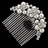 Daisy Treasure Austrian Crystal and Pearl Bridal Hair Comb Clip Bild 2