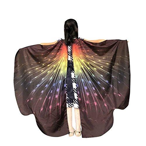 MRULIC Kinder Schmetterlingsflügel Jungen und Mädchen Kostümzubehör Weihnachten Trenchcoat Im Freien Drachen Fliegen Mantel Schal Damen Poncho Karneval heißen Jacken(C-Schwarz,136 * 108CM) (Beste Welttag Des Buches Kostüme)