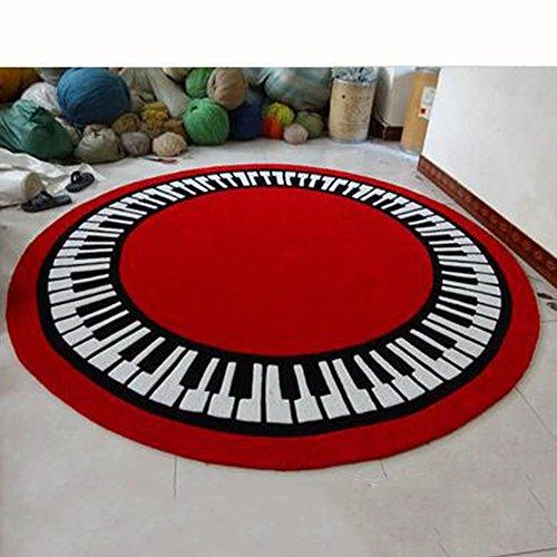 XIA Teppich Runde Schwarz-Weiß-Tasten Piano Note Key Wohnzimmer (Farbe : 3, größe : 100cm) - Taste Teppich