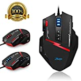 surom C15 Gaming Maus, Zelotes 7000 DPI, 13 Programmierbare Tasten, Hohe Präzision, LED optische USB Wired optische Gaming-Mäuse für Pro Gamer mit Gewicht Tuning Set, auswechselbare Teller