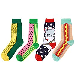 WYTartist Men's Dress Cool Colorful Novelty Funny Casual Combed Cotton Crew Socks 4 Pairs - Gift Box