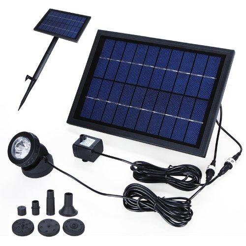 Preisvergleich Produktbild Anself Solar Teichpumpe Solar-Brunnen Waßerpumpe mit 6 LED Beleuchtung und Akku 10V 5W