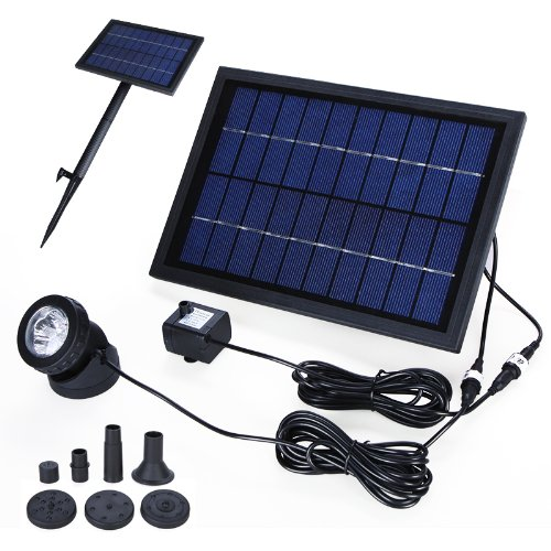 Decdeal Solar Teichpumpe Solar-Brunnen Waßerpumpe mit 6 LED Beleuchtung und Akku 10V 5W