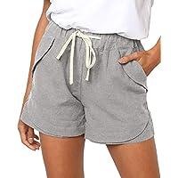 FASKUNOIE Women's Cute Summer Shorts Relax Fit Comfy High Waist Yoga Work Shorts with Pockets Gray
