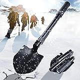 HWeggo klappspaten,Mini Schneeschaufeln Camping mit Kompass,Flaschenöffner und klappspaten Tasche für Wandern,Gartenarbeit,Survival - Schwarz