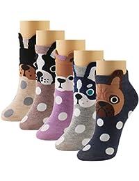 LHZY Womens Girls Low Cut No Show No Slip Cotton Tobilleras Calcetines 5 Pack, Divertido diseño de animales de dibujos animados lindo, Free Size UK 4-7 / EU 35-41