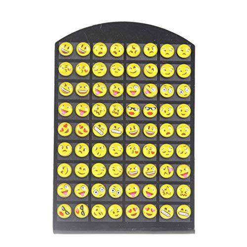 shankming rund Emoji-Ohrstecker Harz Gelb Frauen Mädchen 36Paar Schmuck