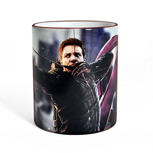 on Hawkeye Tasse Kaffee Becher für Superhelden Fans, mit farbigem Rand und Henkel 300ml (Hawk-eye Avengers)