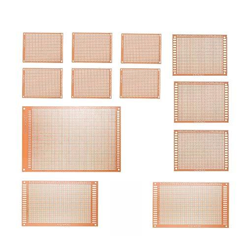 Ogquaton Premium Qualität 12 stücke Prototyp PCB Board Breadboard Universal Leiterplatte Kit für Elektronische DIY Projekt (Projekte Kits Elektronische)