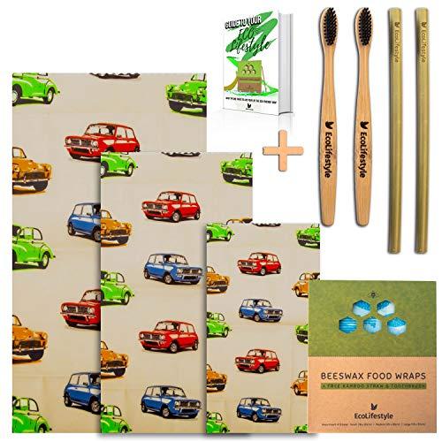 EcoLifestyle Bienenwachs wickeln| 3er Set | Klein, Mittel und Groß + 2x Bambuszahnbürsten, Strohhalme und EBook- Lebensmittelverpackungen | (klassisches Auto)