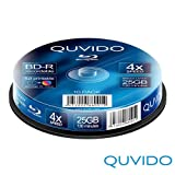 10 QUVIDO BD-R 25GB 4x Full Printable in Spindel // RiTEK