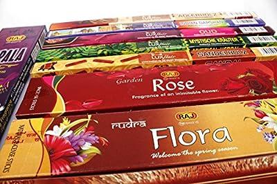 Premium Räucherstäbchen Set XXL aus Indien, Incense Sticks, Luxflair Großpackung mit unterschiedlichen Sorten, langes Räuchervergnügen, zur Meditation und Entspannung. Beinhaltet Flora Bathi, Agarbatti, Sandelholz und weitere indische Räucherstäbch