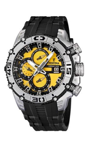 Festina Chrono Bike 2012 Men's Quartz Watch with Yellow Dial Chronograph Display and Black Rubber Strap F16600/5