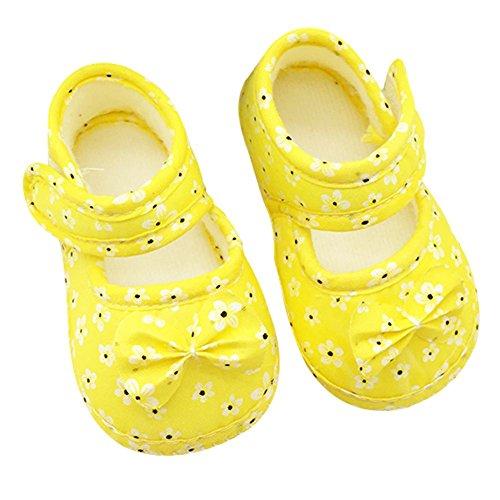 ROPALIA S?uglingsbaby Blumen bowknot Baumwolle Krippe Schuhe Klettverschluss Yellow