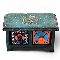 Ethnic Arts Home Dcor Handicrafts|Decorative Handicrafts|Home Dcor| Wooden Ceramic Blue Pottery Double Drawer Set 262