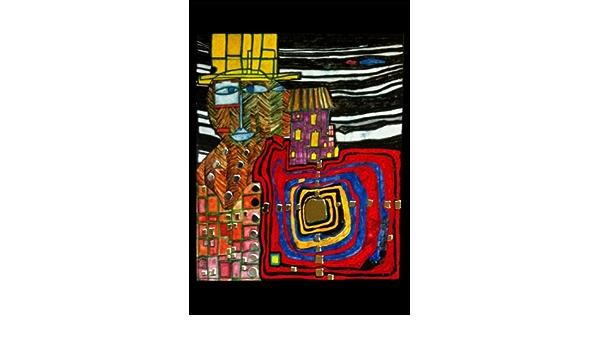 """Kunstkarte Hundertwasser /""""Fischgrätenmann ganz Ohr/"""""""