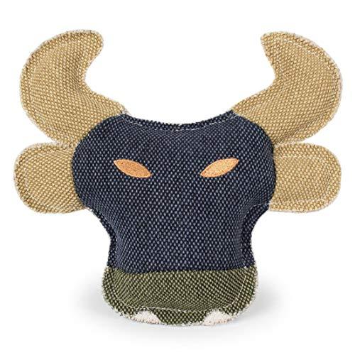DFHJSXDFRGHXFGH-DE Sound Denim Sackleinen Kuh Kopf 22Cm Pippi Amoy Pet Toy Bull Kopf Hundespielzeug Intellektuelle Entwicklung Sport Fitness-Multicolor