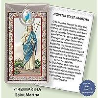 ST Saint Martha Argento Foil Etched Verse preghiere e medaglia ciondolo - Foil Ciondoli