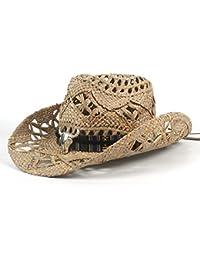 Gr Handgemachte Vintage Frauen Männer Western Cowboy Hut Jazz Stroh Cowboyhut Frauen Männer (Color : Black, Größe : 56-58CM)