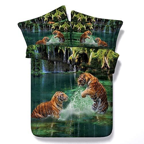 HUANZI Tier Tiger Bettbezug Set, 3D Bettwäsche Set, Modern Schlafzimmer Dekor Baumwolle Bettwäsche-Set 3 Stück mit Kissenbezug,200cmwide*220cmlong
