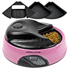 Andrew James Pink 4 Meal / Day Programmable Automatic Pet Feeder / Bowl with Voice Recorder Includes 2 X Volume Reducers + 1 X Adapter Tray