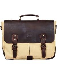 ECHO Handmade Leather Canvas Crossbody Messenger Bag Gift Men Women Travel Work ~ Carry Laptop Computer Books...