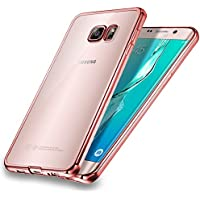 Galaxy S7 Edge Case, Samione Cover Galaxy S7 Edge [Drop Protection] TPU Bumper [Metal Electroplating Technology] Clear Shockproof Silicon Case Cover for Samsung Galaxy S7 Edge - Rose Gold