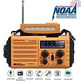 Solar Radio,Tragbare Kurbelradio Dynamo Notfall Wetter Radio mit AM/FM/SW/NOAA,2000mAh Wiederaufladbare Powerbank,USB-Handy-Lader,LED Taschenlampe & Leseleuchte,SOS Alarm,Kompass für Camping Ourdoor