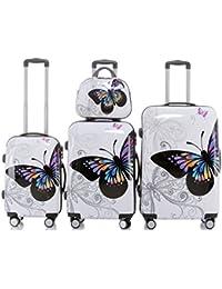 Beibye - Juego de 3 maletas rígidas con ruedas, color rosa