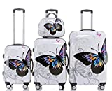BEIBYE 2060 - Set di 4 bagagli rigidi con trolley e beauty-case, fantasia: farfalle, 4 pz