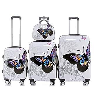Butterfly-2060-4tlg-Reisekofferset-Trolley-Gepckset-Reisekoffer-Hartschalen-Kofferset