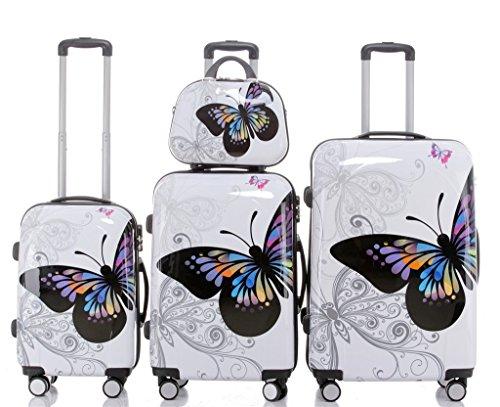 BEIBYE 2060 - Set di 4 Bagagli rigidi con Trolley e Beauty-Case, Fantasia: Farfalle, 4 pz
