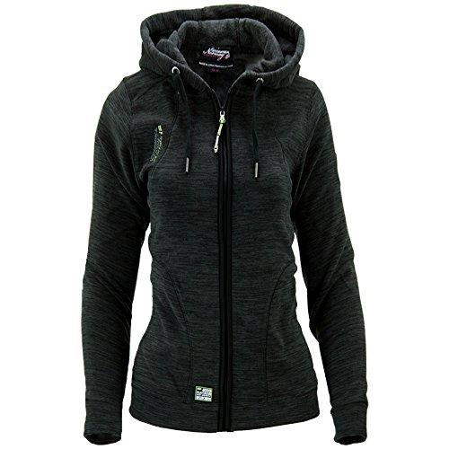 Geographical Norway Damen Fleece Jacke Fleecejacke Pullover Kapuze Gr 42 XL schwarz