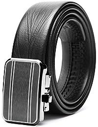 Teemzone Cinturón Piel para Hombre Cinturon Vestido con Hebilla Automático  de ... 81792c696e94