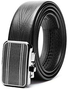 Teemzone Cinturón Piel para Hombre Cinturon Vestido con Hebilla Automático de 35mm Ancho