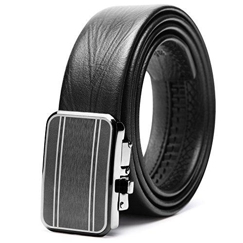 """teemzone Cinturón Piel para Hombre Cinturon Vestido con Hebilla Automático de 35mm Ancho (125cm Cintura: 36""""-44"""", Negro)"""