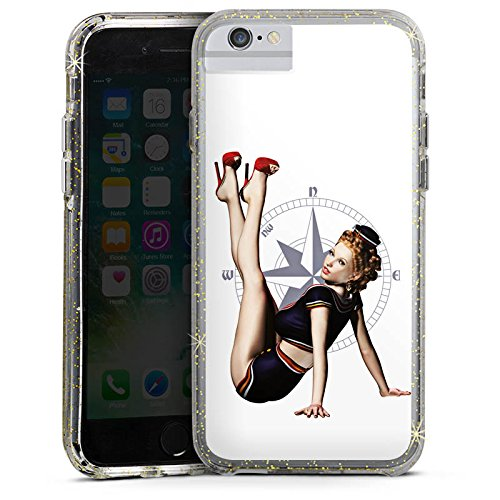Apple iPhone 8 Bumper Hülle Bumper Case Glitzer Hülle Rock N Roll Style Music Bumper Case Glitzer gold