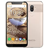 Oukitel U18, 5.85 inch Notch Screen Face Unlock 21:9 HD+ Android 7.0 Smartphone, MTK6750T Octa-core 4GB RAM 64GB ROM Mobile Phone with Dual Rear Cameras (16MP+5.0MP) Front Camera(13MP) Fingerprint 4000mAh Battery Dual SIM Type-C 4G Phablet (Gold)