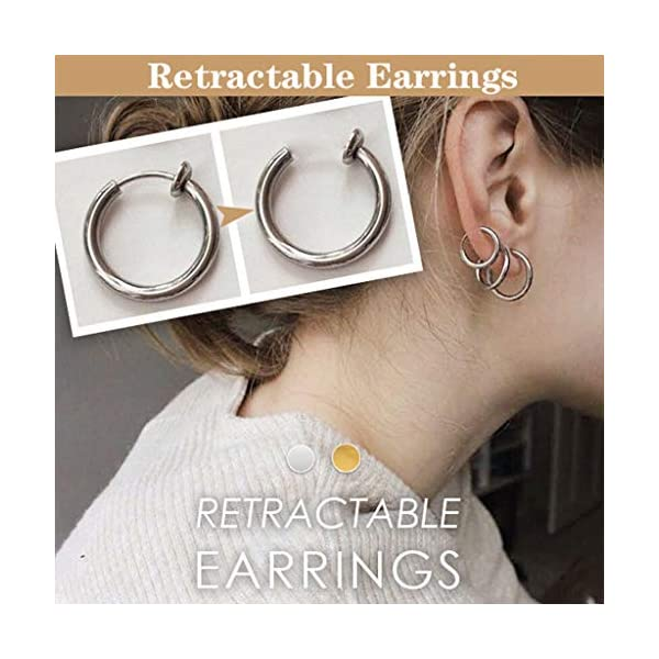 2 Pcs Fake Stud Earrings Clip On Piercing Body Nose Lip Rings Hoop Earrings Hypoallergenic Body Jewelry for Women Men Girls (Silver, S) JNG ✦【Simple Small Hoop Earrings Set】✦1 Pairs premium quality hypoallergenic earrings,silver and gold color, Small: 12mm diameter,Medium: 14mm diameter,Large: 16mm diameter ,multi-size meet your daily needs. ✦【Material】✦ Stainless Steel.Don't worry about the irritation and rashes. ✦【Multi-Purpose to Wear】✦The endless small hoop earrings set can be used for cartilage, nose, lips, ears and body piercings for single or multiple holes. 3