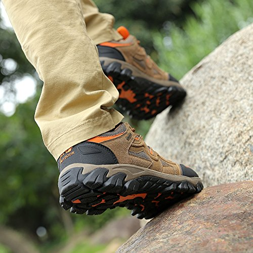 Husk'sware Trekking Schuhe Herren Walking Shoes Large size Sommer Outdoorschuhe Lightweight Hiking wanderschuhe Schnuerschuhe Shoes 39-49 Braun