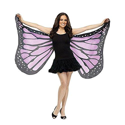 tterlings Kostüm, Frauen 147*70CM Mode Weiches Gewebe Butterfly Wings Fairy Umschlagtücher Schals,Damen Nymphe Pixie Kostüm Zubehör (Violett) (Mädchen Butterfly Halloween-kostüm)