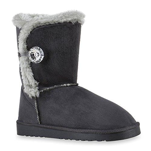 Warm Gefütterte Damen Stiefeletten Glitzer Stiefel Schlupfstiefel Boots Dunkelgrau Knopf