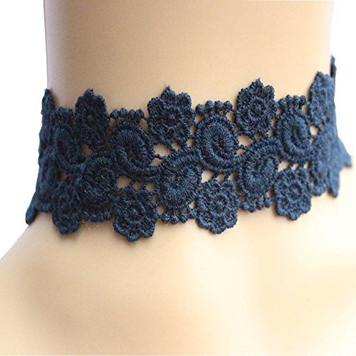 Acxico® Goddess Dark Blue Lace Embroidery Necklace Costume Play Stage Property