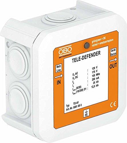OBO Bettermann Vertr Überspannungsschutzgerät TD-4/I f. TK-Anlagen, weiß Überspannungsableiter für Informations-/MSR-Technik 4012196034352