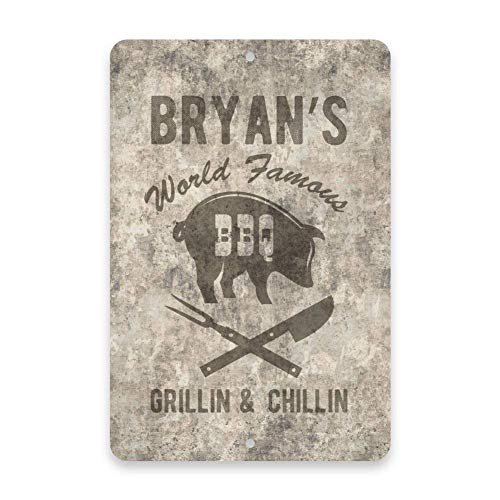 Pottelove personalizzato cemento grunge world famous bbq look vintage metal sign 20,3x 30,5cm