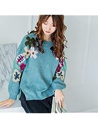 OPPP Suéter para Mujer Otoño e Invierno Bordado Gruesa línea Floja de Punto suéter Flores Hechas