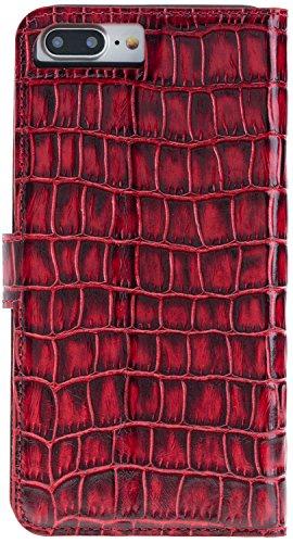 Solo Pelle iPhone 7 Plus / 8 Plus abnehmbare Lederhülle (2in1) inkl. Kartenfächer für das original iPhone 7 Plus / 8 Plus ( Vintage Lila ) inkl. Edler Geschenkverpackung Kroko-Rot ohne Öffnung für das Apple Logo