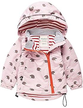 Meanbear Kinder Jacke Mädchen Übergansjacke mit Süßem Pattern Windjacke Regenjacke mit Kapuze Weiß - für Körpergröße...