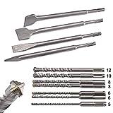KSP-Tec | SDS Plus Bohrer & Meißel Set | Bohrer mit 4 Schneiden | Fließenmeißel, Flach & Spitzmeißel - verpackt in praktischen Drehboxen